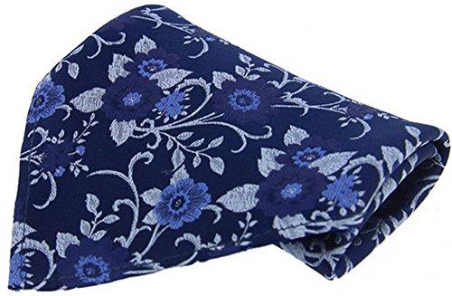 David Van Hagen Marine/mouchoir bleu floral Soie de