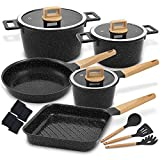 palm restaurant cookware ceramic - Cookware Set Non-Stick Scratch Resistant 100% PFOA Free Induction Aluminum Pots and Pans Set with Cooking Utensil Pack -15 - Black
