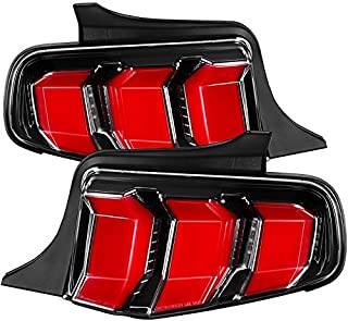 Carpartsinnovate For Ford 10-12 Mustang Pearl Black LED Sequential Turn Signal Tail Brake Lights Pair