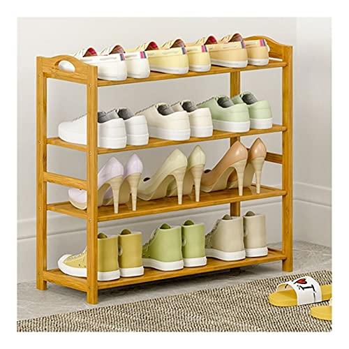 FOLA Zapatero para zapatos, organizador de zapatos de bambú de 4 niveles, estante de almacenamiento con capacidad para 10 – 13 pares de zapatos, ideal para entradas, baño, pasillo de estar (color: B)