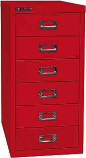 Bisley MultiDrawer™ série 29, format A4, 6 tiroirs, rouge cardinal   L296670 - Armoire basse Armoire de bureau Armoire à t...