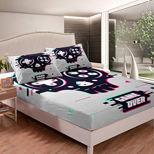Feelyou Skull Gamepad Fitted Sheet Kids Boys Video Game Gamepad Bed Sheet Set Geometric Pixel Bedding Set for Child Teens Game Controller Bed Cover Room Decor 3Pcs Sheets Queen,Gray