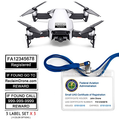 Mavic Air - FAA Drone Identification Bundle - Labels (3 Sets of 3) + FAA UAS Registration ID Card for Hobbyist Pilots + Lanyard and ID Card Holder