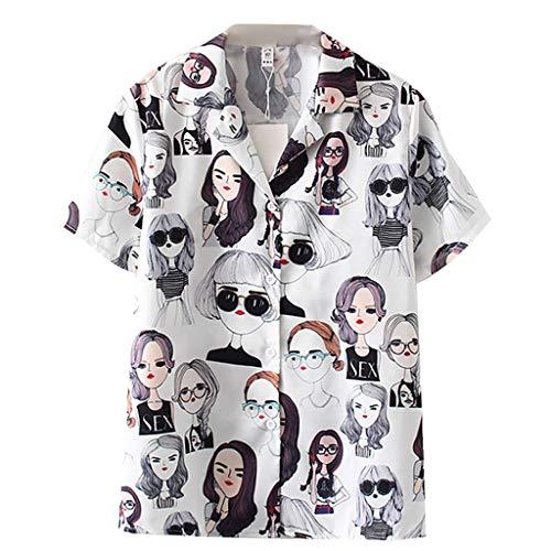 Las Mujeres de Moda de Manga Corta de impresión Vintage Camisa Coreana Blusa Suelta Ocasional