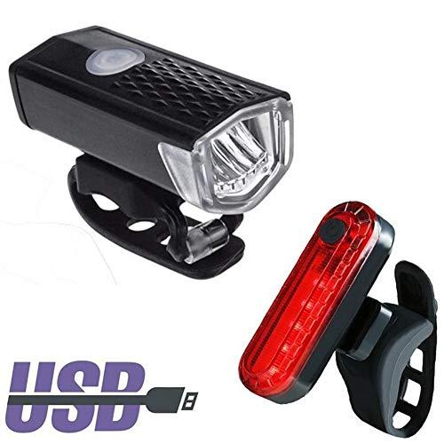 Luz de Alerta Frente de la Bicicleta luz de Carga USB Super Brillante Equipo de iluminación Riding Cola de la Bicicleta a Prueba de Agua Juego de Luces Impermeable (Color : Black)