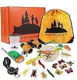 Twister.CK 27PCS Kids Outdoor Explorer Kit, Juego de exploración de Aventura para niños, binoculares, Linterna, brújula, Silbato, Juego de Regalo para niños para Acampar, Caminar