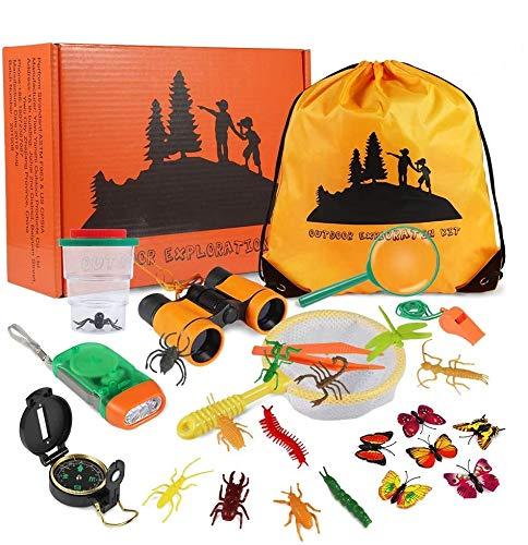 Twister.CK 27PCS Kit per Esploratore Esterno per Bambini, Set esplorazione Avventura per Bambini, binocolo, Torcia elettrica, Bussola, Fischietto, Set Regalo per Ragazzi per Campeggio, Escursionismo