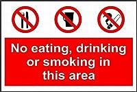 警告サイン-警告このエリアでは飲食や喫煙は禁止されています。通知のためのインチ通りの交通危険屋外の防水および防錆の金属錫の印