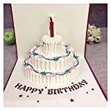 XUFAN 1pcs Tarjeta de Pastel de Regalo de cumpleaños Pop Up Up 3D Tarjetas de felicitación con Sobres Postal invitación Origami Artesanal Aniversario Tarjeta de Regalo (Color