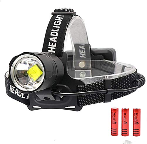 Brightest Headlamp Rechargeable Flashlight High Power XHP70 LED Head Light Waterproof 10000 Lumens 3 Lighting Modes Adjustable Focus Head Lamp Best for Running Jogging Camping Hiking Hunting Outdoors