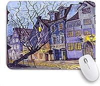 """ゲーミングマウスパッド、バルティックリガオールドタウンストリートフェアリーナイトラトビアアーキテクチャカラフルステートキャピタルシティキュート、9.5"""" x7.9""""滑り止めゴムバッキングマウスパッド(ノートブックコンピューター用)マウスマット"""