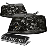 f150 3rd brake light replacement - Replacement for Ford F150 Pair of Smoke Lens Clear Corner Headlight+Black LED 3rd Brake Light