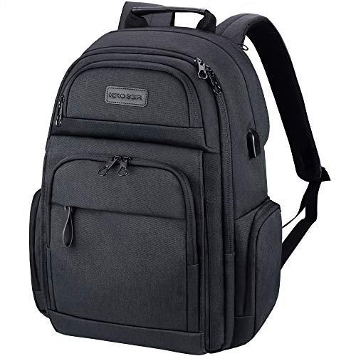 KROSER Travel Laptop Backpack Stylish 15.6 Inch Computer Backpack with Hard Shelled Saferoom RFID Pockets Water-Repellent Sturdy School Daypack for Work/Business/College/Men/Women-Charcoal Black