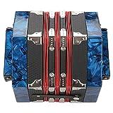 Acordeón, tres colores disponibles Fácil de aprender Fuerte y resistente Ajustable en acordeón de 20 botones Ligero para interpretación en el escenario para clases de formación musical(Azul)