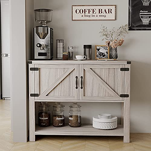 Farmhouse Buffets and Sideboards Kitchen Sideboard Buffet Storage Cabinet Buffet and Hutch Buffet Table Entryway Standing Storage Chest with 2 Doors and Bottom Open Shelf for Living Room(Grey Wash)