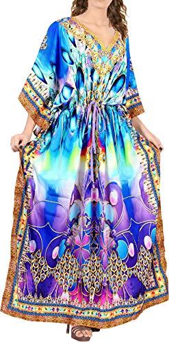 LA LEELA Mujeres caftán túnica 3D HD Impreso Kimono Libre tamaño Largo Abaya Vestido Jalabiyas de Fiesta para Loungewear Ropa de Dormir Playa Todos los días Cubrir Vestidos Multicolor_V540