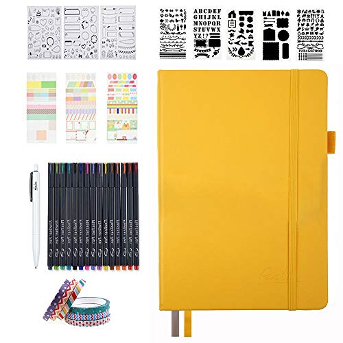 Image of the Bullet Dotted Journal Kit, Feela A5 Dotted Bullet Grid Journal Set with 224 Pages Yellow Notebook, Fineliner Colored Pens, Stencils, Stickers, Washi Tape, Black Pen for Diary Schedule Planner Draw