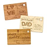 Personalized Wooden Postcards for Birthdays, Anniversaries, Mother's Day, Father's Day, Holidays