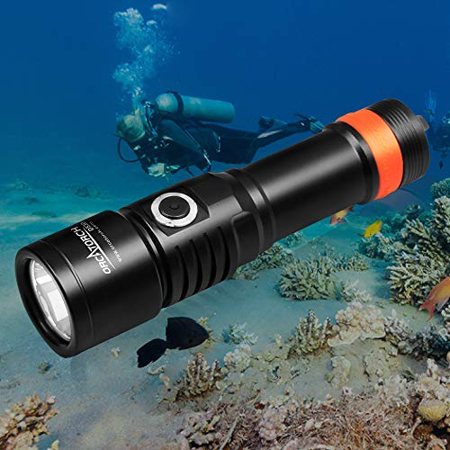 ORCATORCH D530 Dive Light, 1300 Lumens, 8 Degrees Narrow Beam Angle, Titanium Alloy Side Button Switch, 2 Lighting Modes, with USB Battery, Battery Indicator, for Underwater 150 Meters Diving