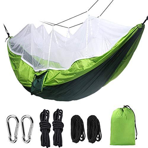 HOODLE Campinghangmat met muggennet hangmat hangmat hangmat draagbaar parachutescherm licht voor wandelen reizen rugzak schouders strand tuingereedschap met boomriem