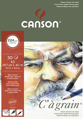 Canson 400060602 C a grain Zeichenpapier, A3, Weiß, 29,7 x 42 cm - A3