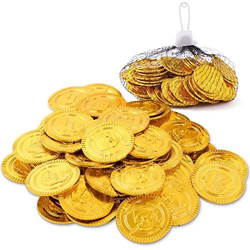 Herefun 100pcs Goldmünzen, Piratenschatz Goldmünzen Spielzeug, Piraten Schatz Gold-Münzen Spielgeld, Pirat Goldmünzen Kindergeburtstag, Piratenparty Seeräuber Schatzsuche Kinder Mitgebsel