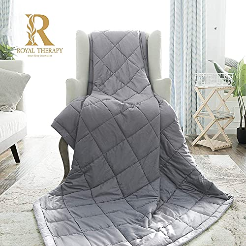 Royal Therapy Weighted Blanket - Heavy 100% Cotton Blankets with Premium Glass Beads (60''x80'' 20lbs, French Grey), Suitable for One Person (~200lb) - Use on Queen/King Bed