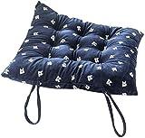 Acolchados rellenos de asientos al aire libre, cocina no-slip cojines de silla con los lazos de la franela de 7 cm de espesor for sillas de comedor Oficina verde 35x35cm (14x14inch), Tamaño interior:
