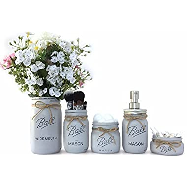 Farmhouse Bathroom Decor Rustic Mason Jar Bathroom Set Country Bathroom Decor (Cottage Grey)