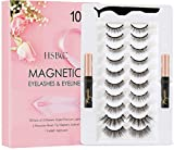 Upgraded 10 Pairs Magnetic Eyelashes Kit With Double Eyeliner , Reusable 3D 6D Magnetic Eyelashes and Eyeliner,Magnetic Eyeliner and Magnetic Eyelash Natural Look-No Glue Needed