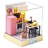 perfeclan Kit de casa de muñecas Miniatura de Madera DIY con Muebles Modelo de Casa Kit de Mini casa de Madera Conjunto-Cocina