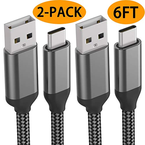 USB C Cables,6FT 2PACK,Fast Charging,Nylon,Charger Cord For LG Stylo 5 4,G8X G8 G7 G6 V50 V40 ThinQ,Moto Z4 Z3 G7,Samsung Galaxy S10e S10 S9 Plus,Note 10 9,A10e A20e A20 A30 A40 A50 A70 A80,ZTE Blade