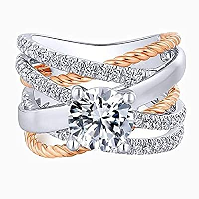 TbpersicwT Fashion Women Cross Dual Color Rhinestone Ring Engagement Wedding Jewelry Gift Unique Temperament Ring - Silver + Golden US 8