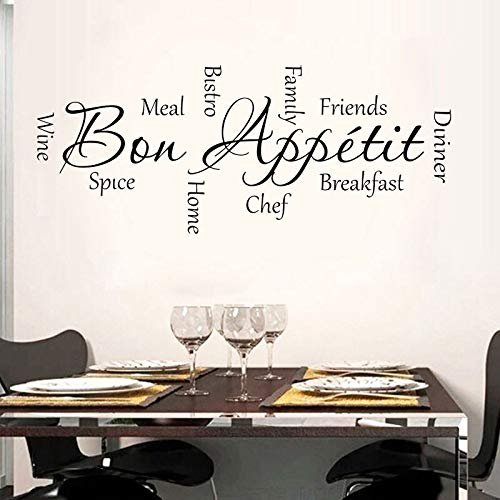 Bon Appetite palabra de cocina pegatina de pared de vinilo decoración del hogar cocina restaurante café calcomanía de pared extraíble decorativo A6 103x42cm