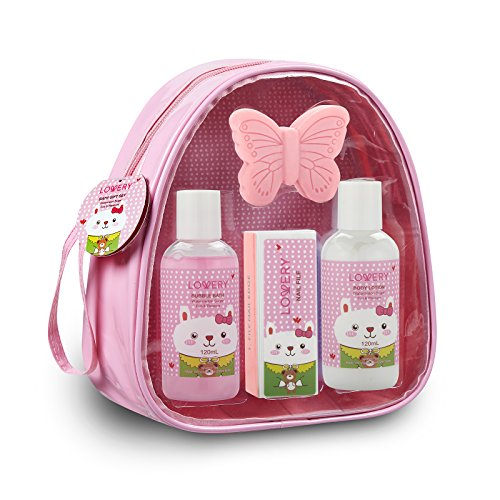 Girls Gift Set Kids Bubble Bath Spa Bag  5 Piece Bath Set Bag with Heavenly Watermelon Fragrance Includes Bubble Bath Body Lotion Butterfly Soap Nail File and Sturdy Carry Bag