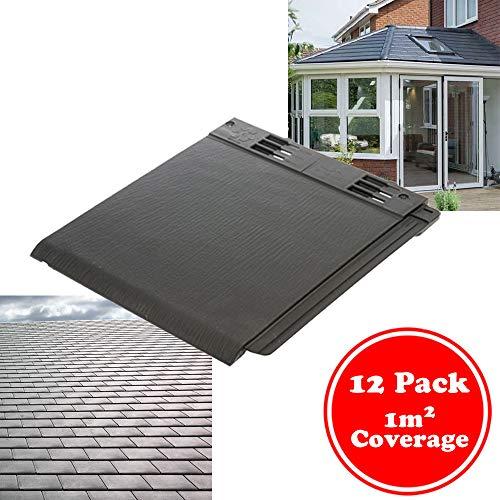 Envirotile Plastic Roof Tile Slate - Shed/Conservatory/Garage/Porch Shingle - 1m2 Pack of 12 Tiles