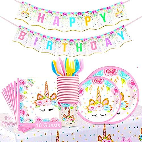 Sunshine smile Unicorno Set Piatti Tazze,Set di Articoli per Feste Unicorno,Unicorno Party Kit,Unicorno Festa Stoviglie,Unicorno Party Compleanno