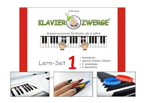 Klavier lernen - Klavierzwerge Lern Set 1 beinhaltet: Notenbuch 1 inkl. Zubehör   Klavierspielen mit Freude erlernen   Klavierschule mit Notenheft für Kinder ab 4 Jahren sowie Anfänger jeden Alters