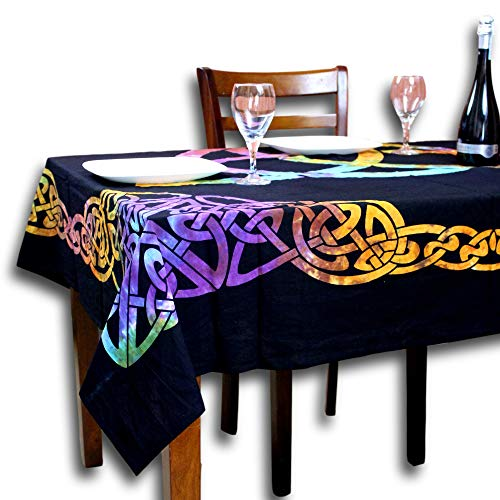 Sweet Us Celtic Print Tablecloth for Square Tables 72x72 Black Blue Green Purple Gold Orange Triquetra Trinity Cotton Fabric Kitchen, Dining Linen