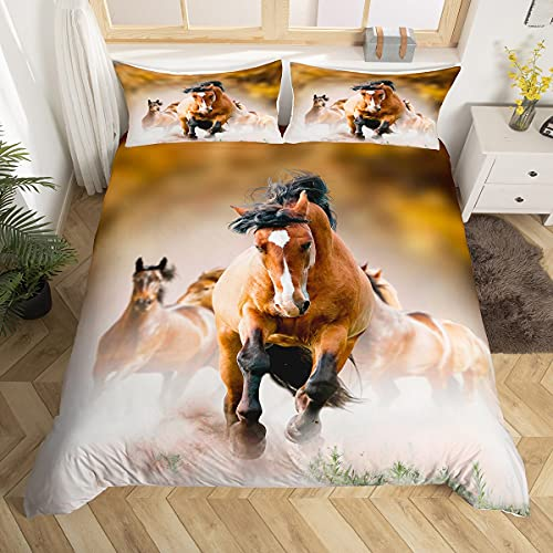 Erosebridal Wilde Pferde Bettbezug volle Größe Pferd Teens Tröster Bezug Tiermuster Dekor Bettwäsche gedruckt Quilt Cover für Erwachsene Kinder Cowboy weich atmungsaktiv einfacher Stil Tagesdecke