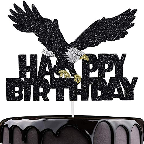 Artczlay Bald Eagle Happy Birthday Cake Topper Black Glitter Cake Topper Bald Eagle Themed Party Cake Decoration