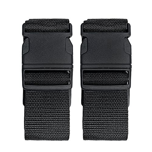 Paquete de 2 cinturones de maleta, correas de equipaje ajustables, colores brillantes, correas de embalaje de viaje con hebilla de liberación rápida (negro)