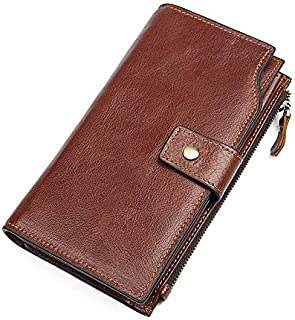 Men's Leather Wallet Long Business Clutch Bag Leather Wallet Card Package Fashion Wipe Later Suitable for Travel Leisure (Color : Brown, Size : S)