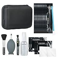 Kit di pulizia per fotocamera DSLR con fluido detergente per sensori, soffiatore a razzo, penna per obiettivo, spazzola morbida, 2x panni in microfibra piccoli e 2x grandi e custodia