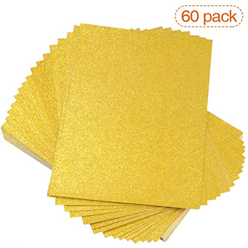 60Pcs Gold Glitter Paper Cardstock for DIY Projects, Scrapbook, Arts and Craft, Birthday and Wedding Party Decorations, 250GSM, 12x8.5 inches