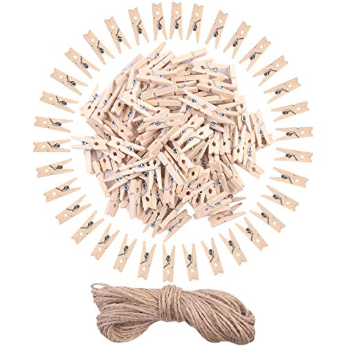 DIYASY 120 Pcs Mini Wood Clothespins1 Inch Small Craft Wooden Clips with Jute Twine for Photo Wall and DIY Craft