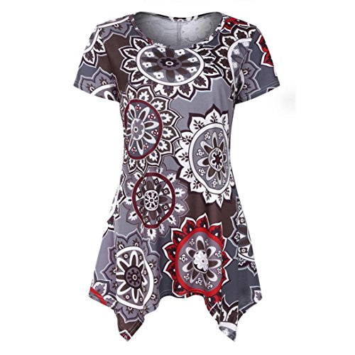 VEMOW Summer Mutter Geschenk Tag Damen Damen Kurzarm Swing Tunika Sommer Floral Flare T-Shirt Top Bluse Shirt Tees Shirt Kleid(Kaffee, 46 DE/XL CN)