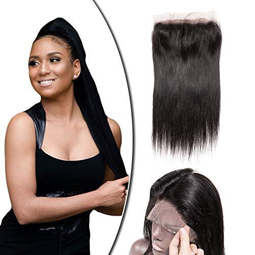 360 Lace Frontal Closure with Baby Hair Natural Hairline 100% Braziliaanse Hair Glatt Remy Echthaar Naturschwarz Straight 10