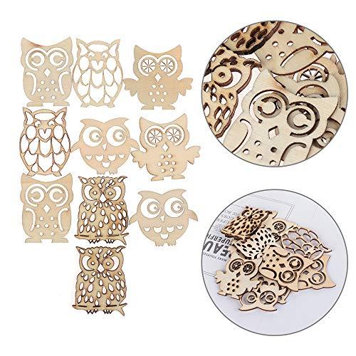 Xuntung 10PCS diy gemischt dekoration stück scrapbooking verschönerung owl form holz handwerk