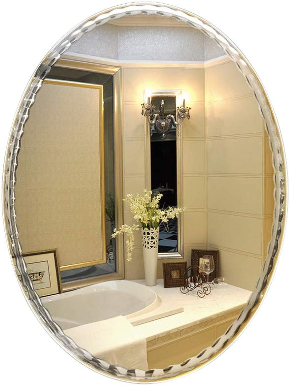 YONGMEI Oval Glass Decorative Mirror Wall Mirror European Bathroom Mirror Simple Frameless Mirror (color   A, Size   45x60cm)